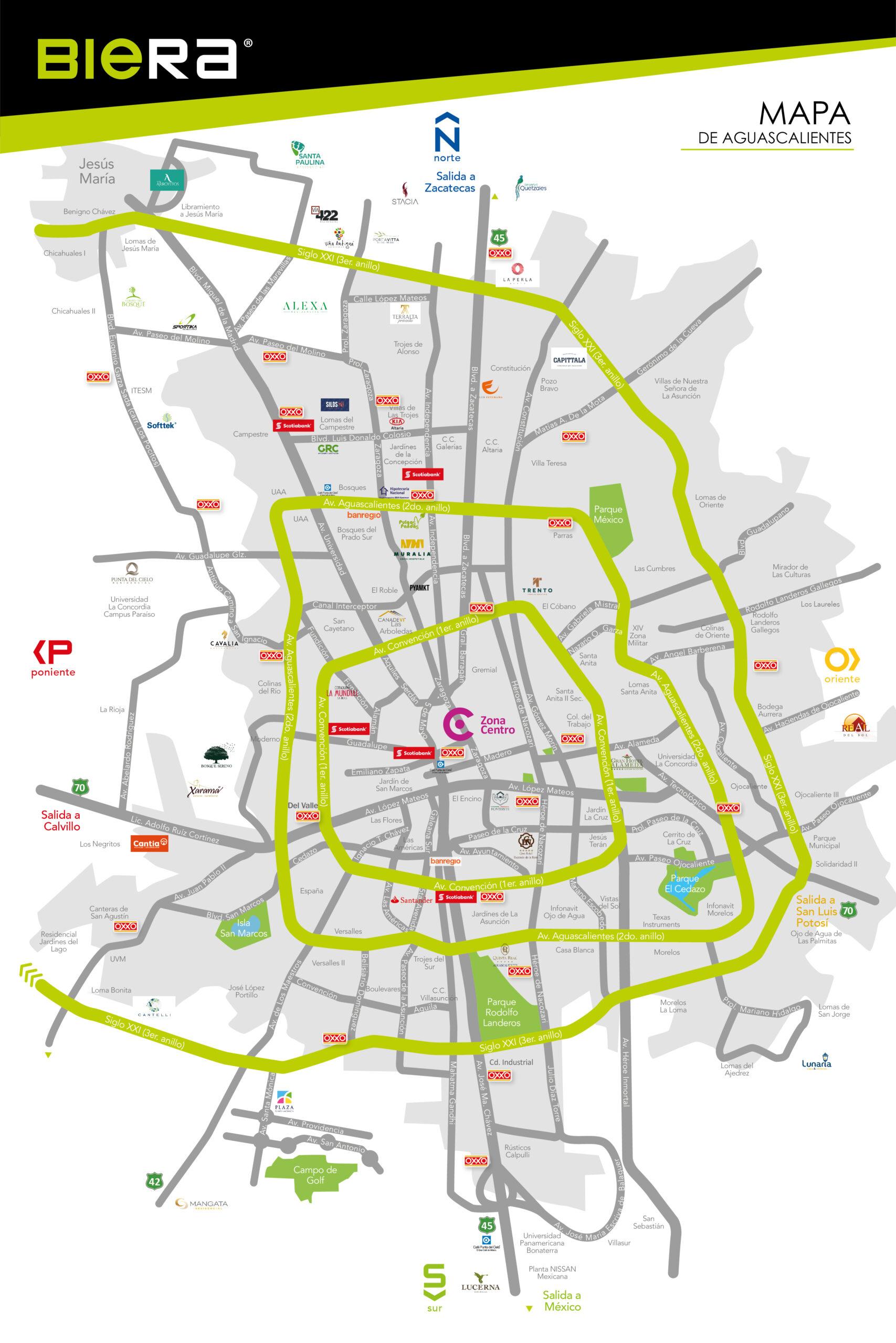 Mapa de la ciudad de Aguascalientes, con los principales desarrollos de vivienda de la ciudad